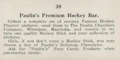 1923 V128-1 Paulin's Candy Hockey Cards 2