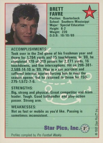 Ultimate Brett Favre Rookie Cards Checklist and Key Early Cards 16