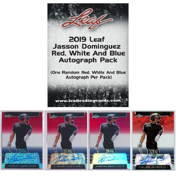 2019 Leaf Metal Draft Baseball Cards - Jasson Dominguez Red, White & Blue packs 3