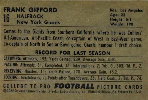 1952 Bowman Large Football Cards 2