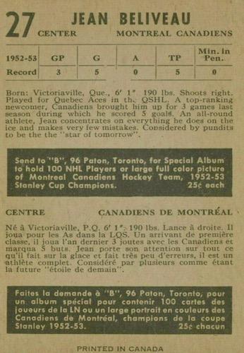 1953-54 Parkhurst Hockey Cards 2