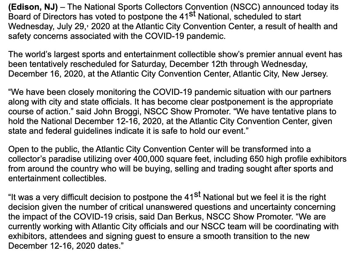 2020 National Sports Collectors Convention NSCC Postponed 1