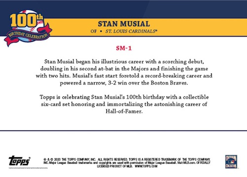 2020 Topps Stan Musial 100th Birthday Celebration Baseball Cards 2