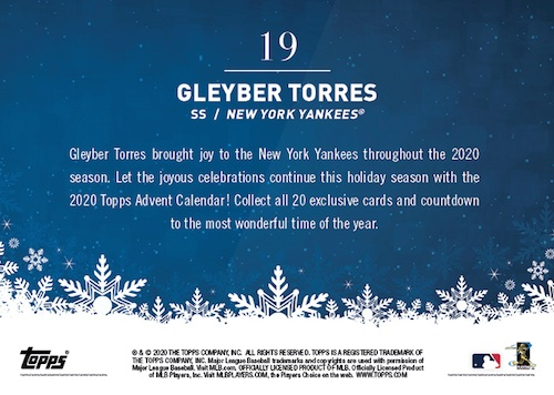 2020 Topps Advent Calendar Baseball Cards Checklist Guide 2