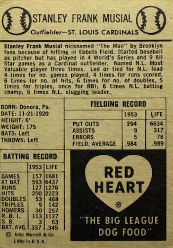 1954 Red Heart Baseball Cards 2