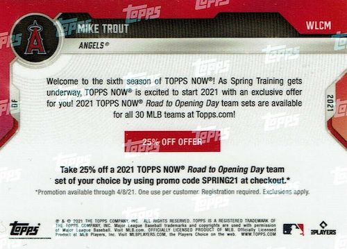2021 Topps Now Road to Opening Day Baseball Cards Checklist 3