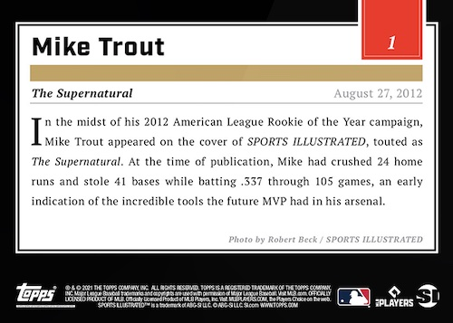 2021 Topps X Sports Illustrated Baseball Cards Checklist 2