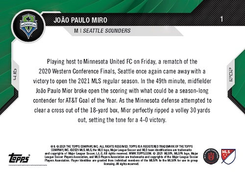 2021 Topps Now MLS Soccer Cards Checklist 2
