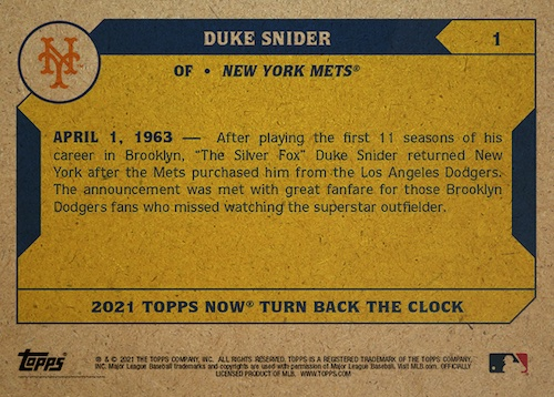 2021 Topps Now Turn Back the Clock Baseball Cards Checklist Guide 2