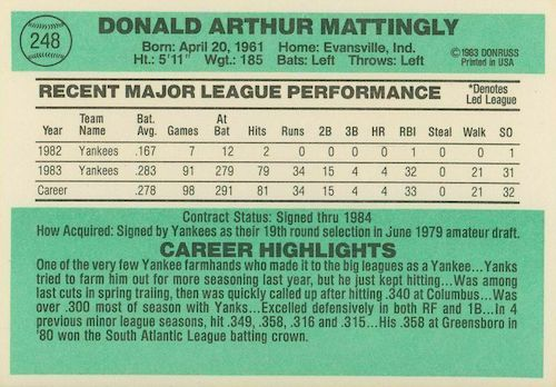1984 Donruss Baseball Cards 4