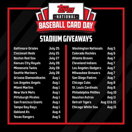 2021 Topps National Baseball Card Day Cards - Saturday, August 7 2