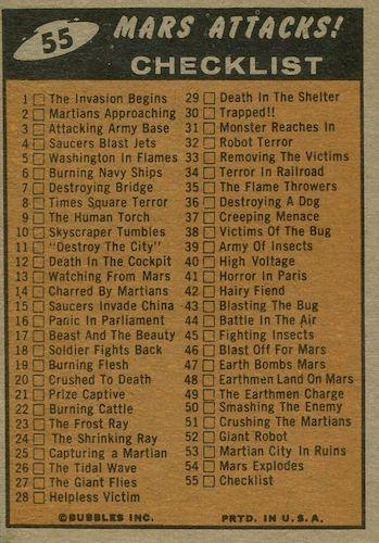 1962 Topps Mars Attacks Trading Cards 2