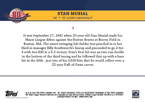 2021 Topps Stan Musial 80th Anniversary Baseball Cards 2