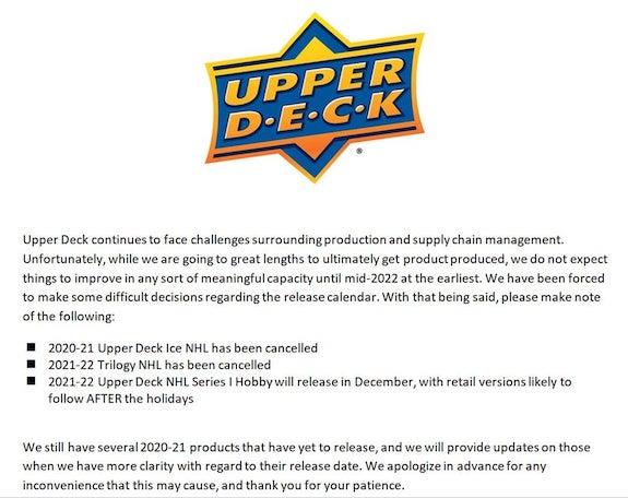 2021-22 Upper Deck Series 1 Hockey Cards - Delayed 1